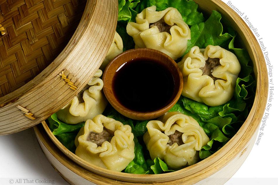 Steamed Mongolian Lamb Dumplings with Hoisin Soy Dipping Sauce